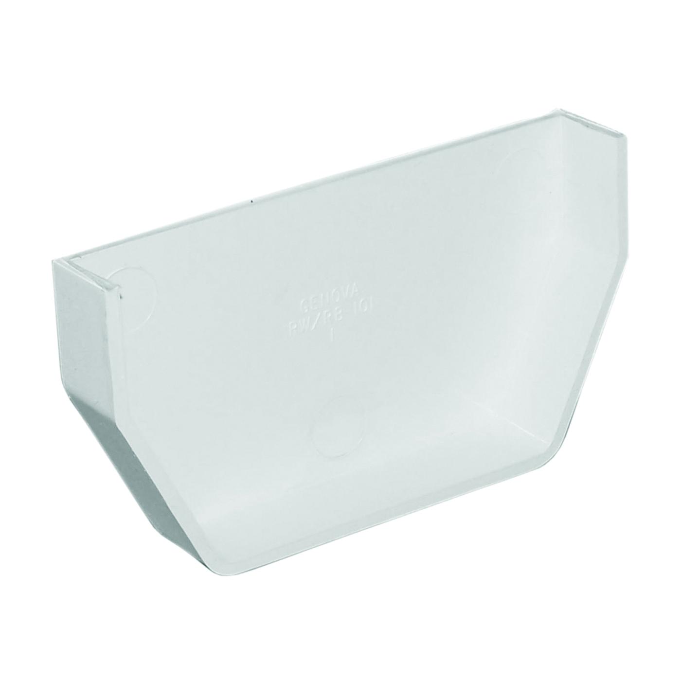 Picture of GENOVA RW101 Gutter End Cap, 2-1/2 in L, 1 in W, Polypropylene, White, For: 5 in Raingo Gutter
