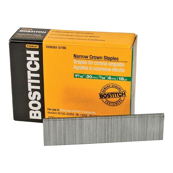 Picture of Bostitch SX50351-3/16G Crown Staple, 7/32 in W Crown, 1-3/16 in L Leg, 18 Gauge, Steel, 3000, Pack