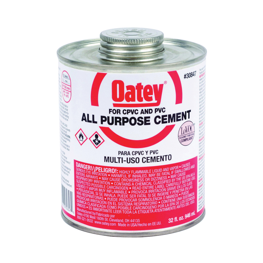 Picture of Oatey 30847 Solvent Cement, 32 oz, Can, Liquid, Milky Clear