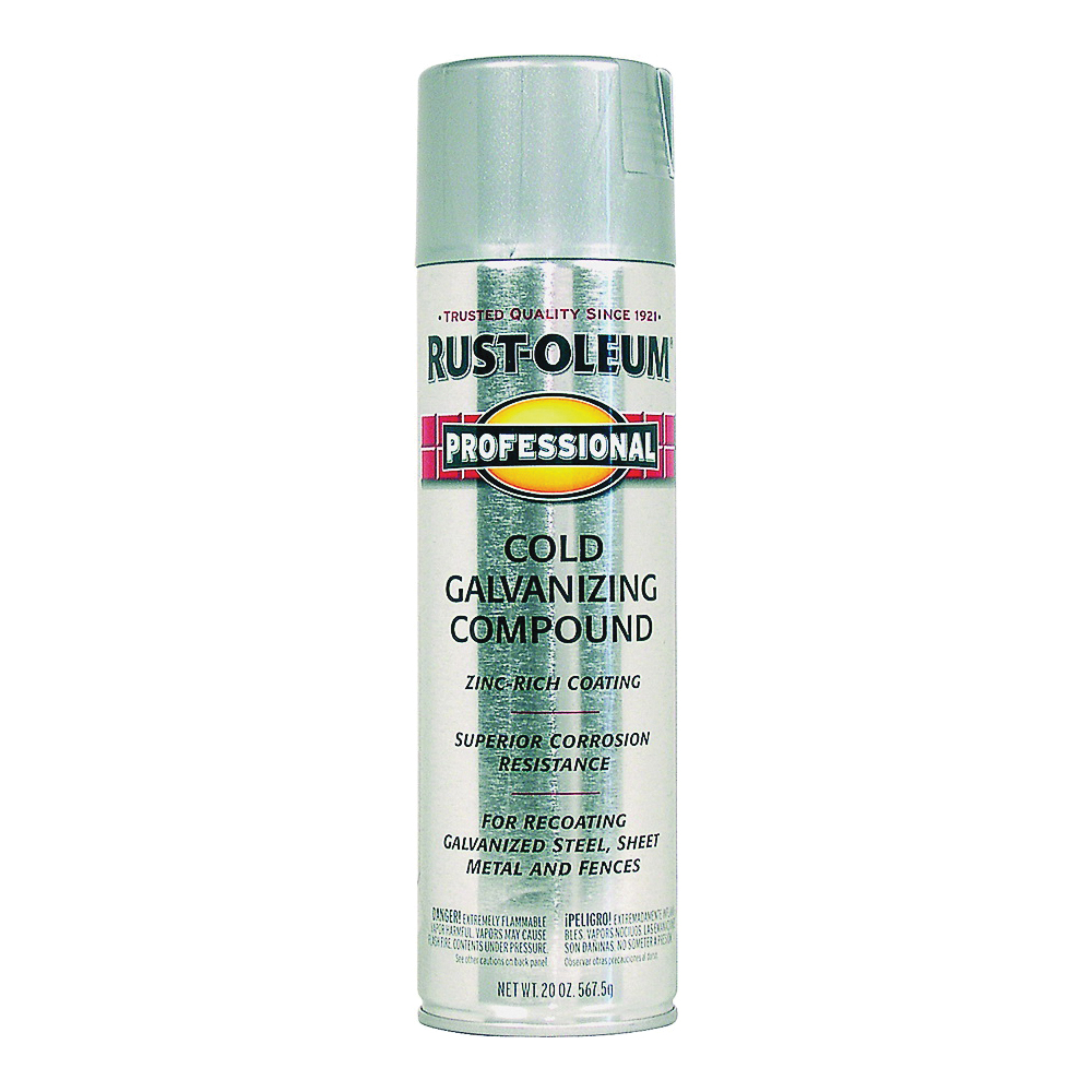 Picture of RUST-OLEUM PROFESSIONAL 7585838 Galvanizing Compound Spray Paint, Cold Gray, Flat/Matte, 20 oz