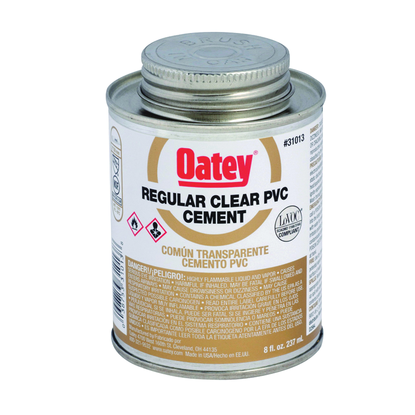 Picture of Oatey 31014 Solvent Cement, 16 oz, Can, Liquid, Clear