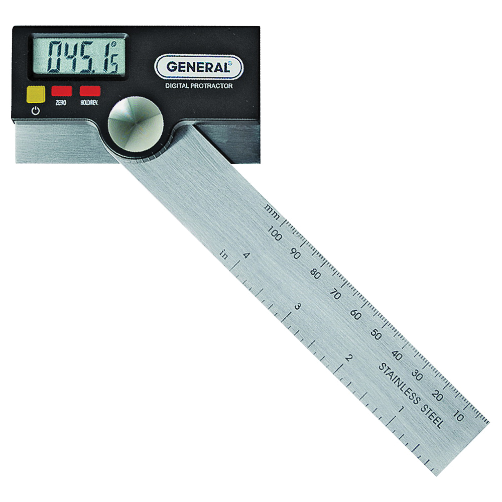 Picture of GENERAL 1702 Digital Protractor with Thumb Nut, 0 to 180 deg, Stainless Steel