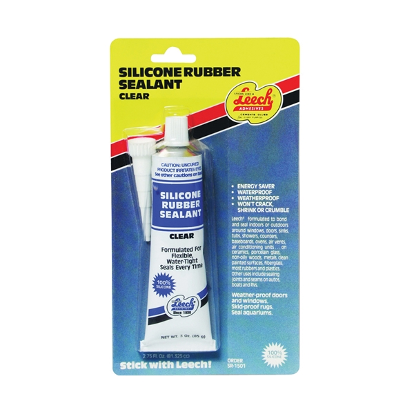 Picture of Leech Adhesives SR-1501 RTV Silicone Rubber Sealant, Clear, 24 hr Curing, 3 fl-oz Package, Tube