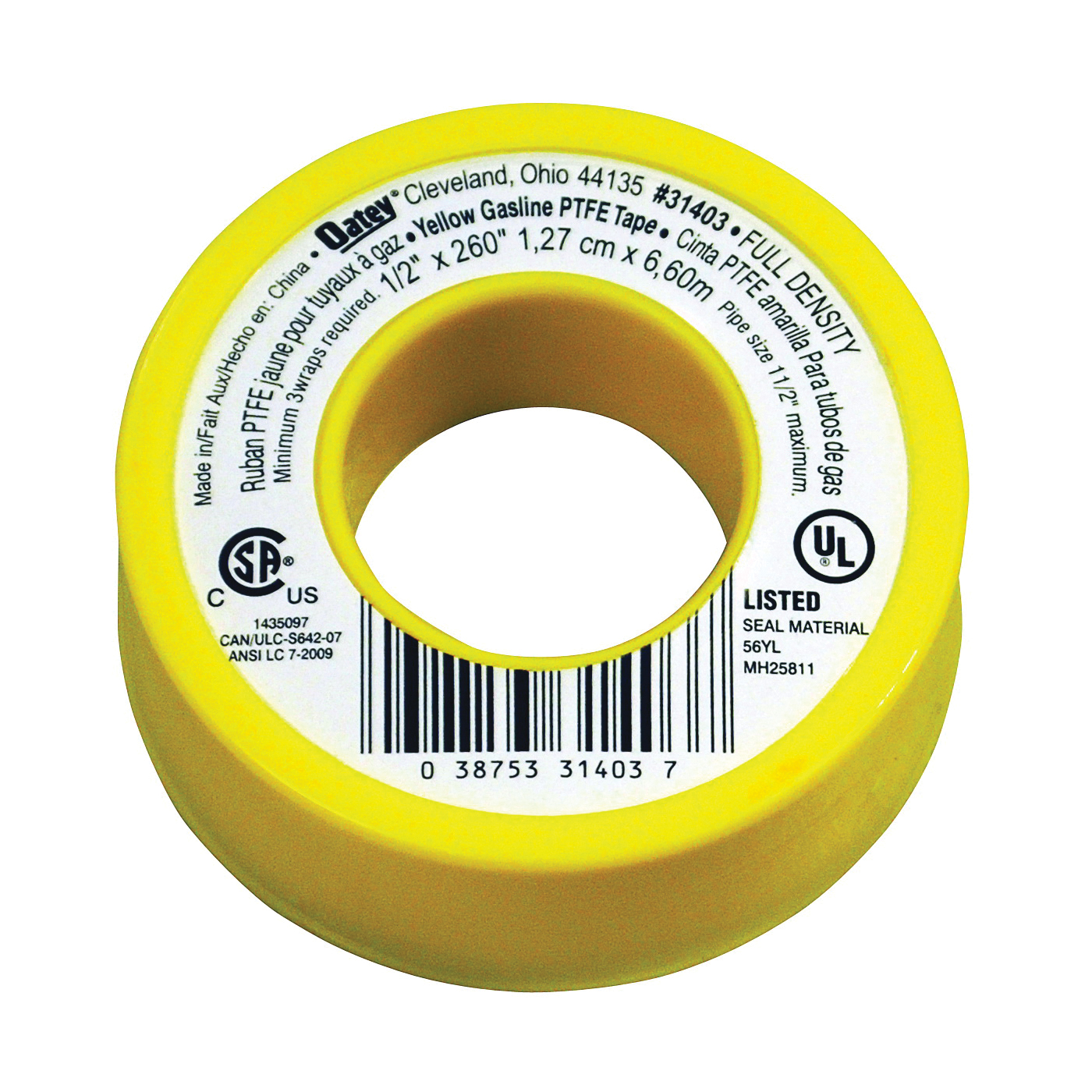 Picture of Oatey 31403 Thread Seal Tape, 260 in L, 1/2 in W, PTFE, Yellow