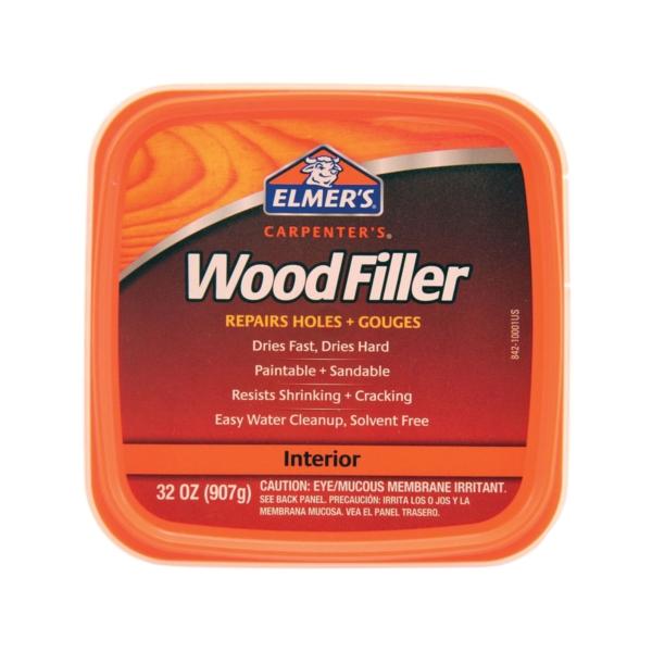 Picture of Elmers E842L Wood Filler, Paste, Mild Acrylic, Light Tan, 1 qt Package