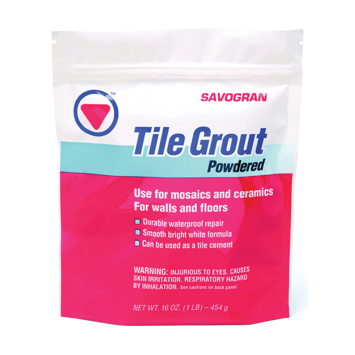 Picture of SAVOGRAN 12841 Powdered Tile Grout, Powder, White, 1 lb Package