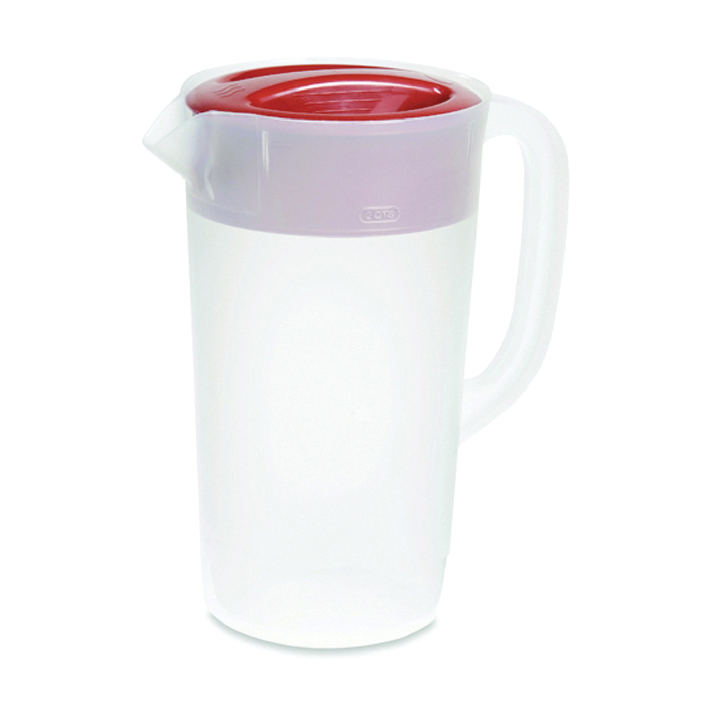 Picture of Rubbermaid 1777154 Pitcher, 2.25 qt Capacity, Plastic, Clear/Red