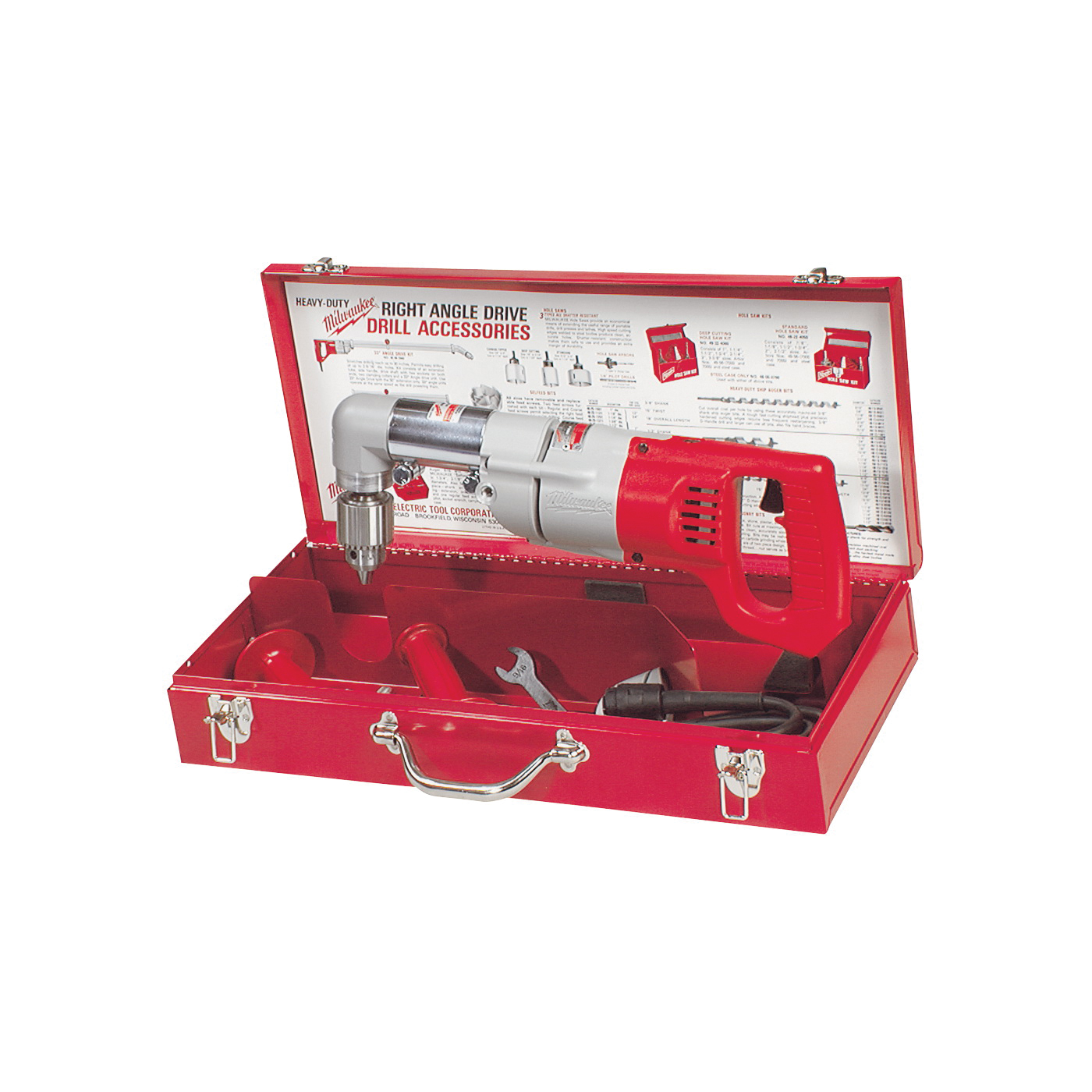 Picture of Milwaukee 3107-6 Drill Kit, 120 VAC, 1/2 in Steel Drilling, 1/2 in Chuck, Keyed Chuck, 0 to 500 rpm No Load