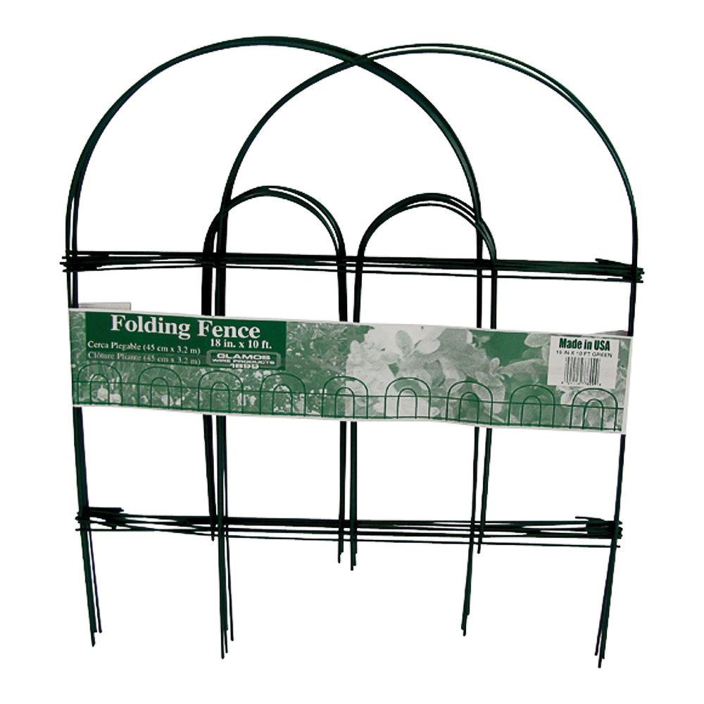 Picture of Glamos Wire 778009 Folding Wire Fence, 10 ft L, 18 in H, Green, Powder-Coated