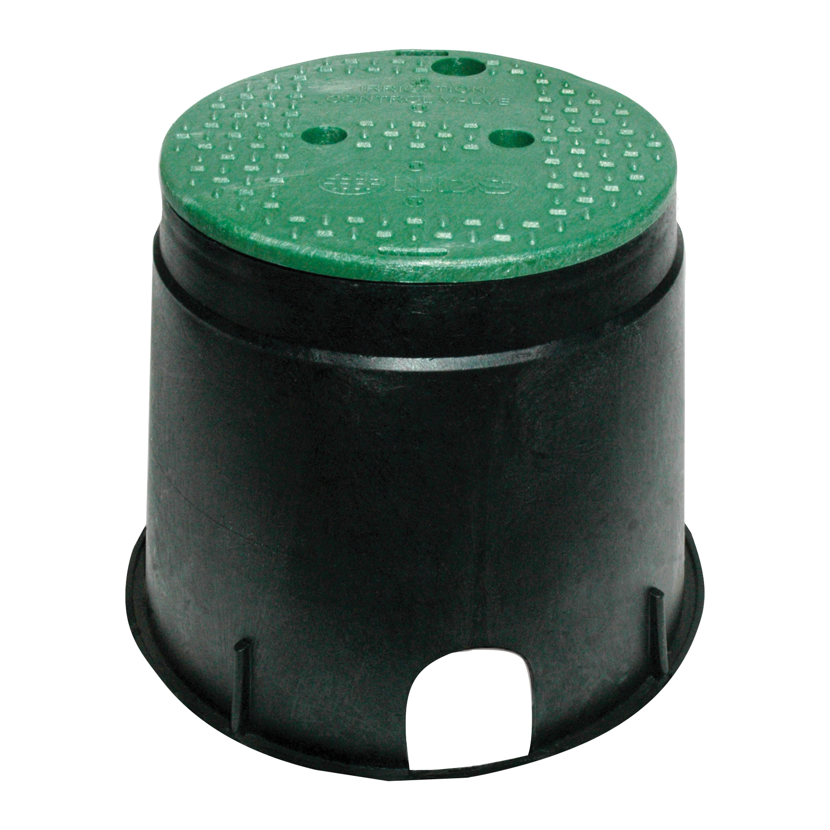 Picture of NDS 111BC Valve Box with Overlapping ICV Cover, 12-7/8 in L, 11-5/8 in H, 2-1/2 x 2-3/4 in Pipe Slots, Polyolefin