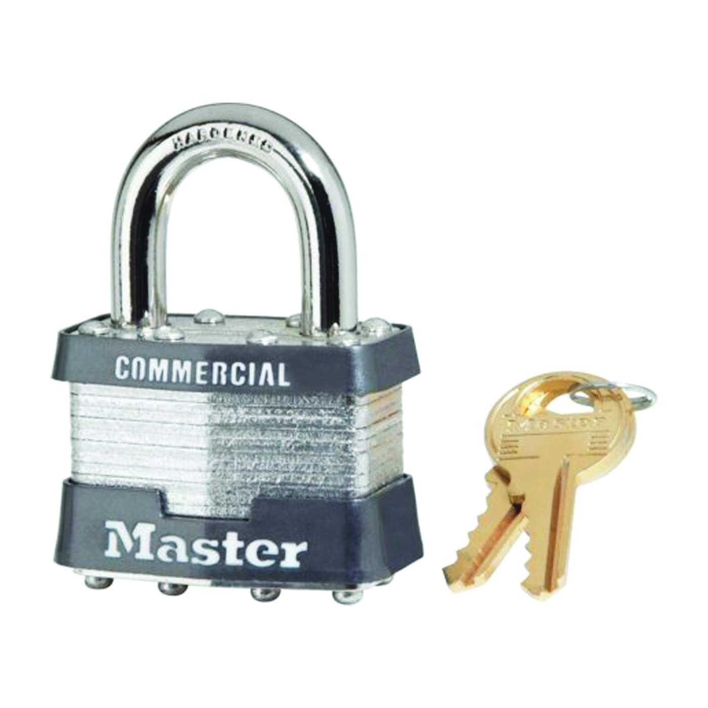 Picture of Master Lock 1KA 2002 Keyed Padlock, Alike Key, Open Shackle, 5/16 in Dia Shackle, 15/16 in H Shackle, Steel Shackle