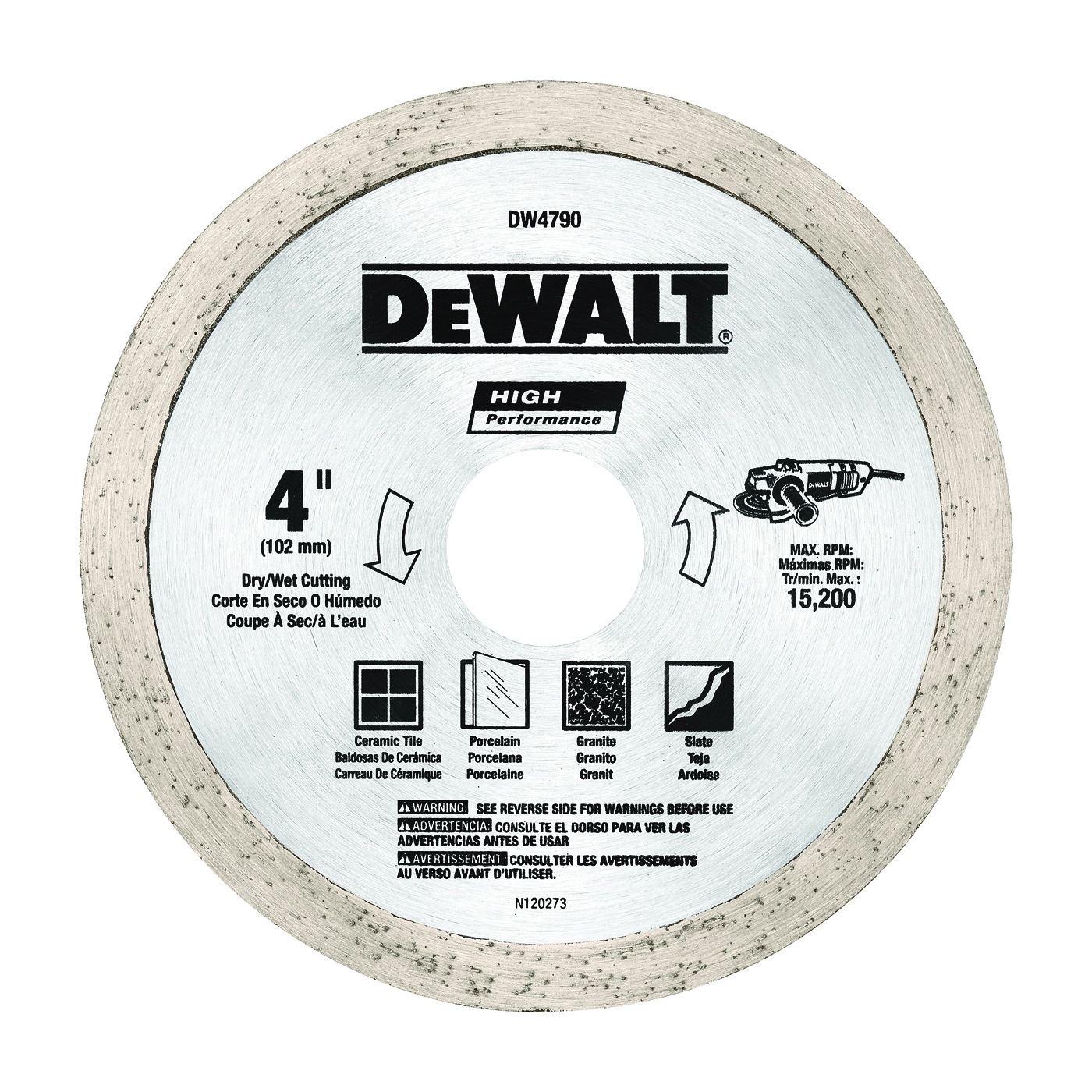 Picture of DeWALT DW4790 Tile Blade, 4 in Dia, 1/16 in Thick, 5/8-11 Arbor