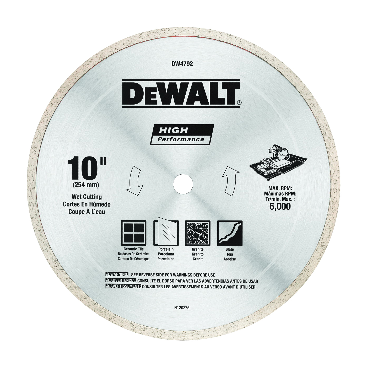Picture of DeWALT DW4792 Tile Blade, 10 in Dia, 1/16 in Thick, 5/8 in Arbor