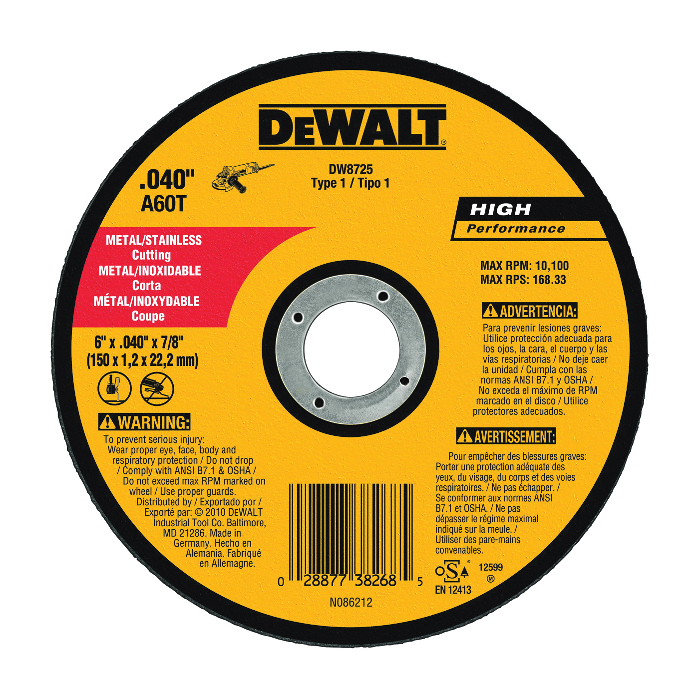 Picture of DeWALT DW8725 Cutting Wheel, 6 in Dia, 0.04 in Thick, 7/8 in Arbor, Very Fine, Aluminum Oxide Abrasive
