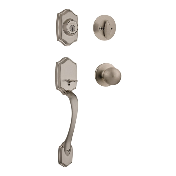 Picture of Kwikset 96870-099 Handleset, 3 Grade, Brass, Satin Nickel, 2-3/8 x 2-3/4 in Backset, KW1 Keyway, Reversible Hand