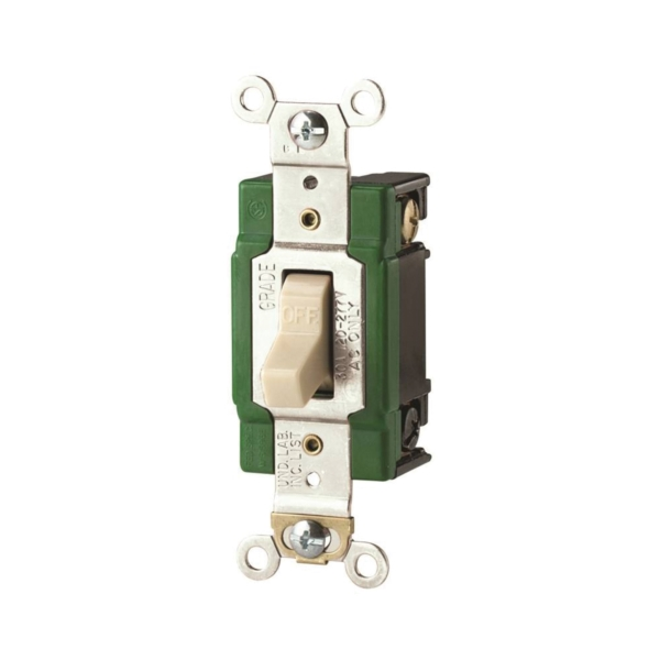 Picture of Eaton Wiring Devices 3032V Toggle Switch, 30 A, 120/277 V, Screw Terminal, Polycarbonate Housing Material, Ivory