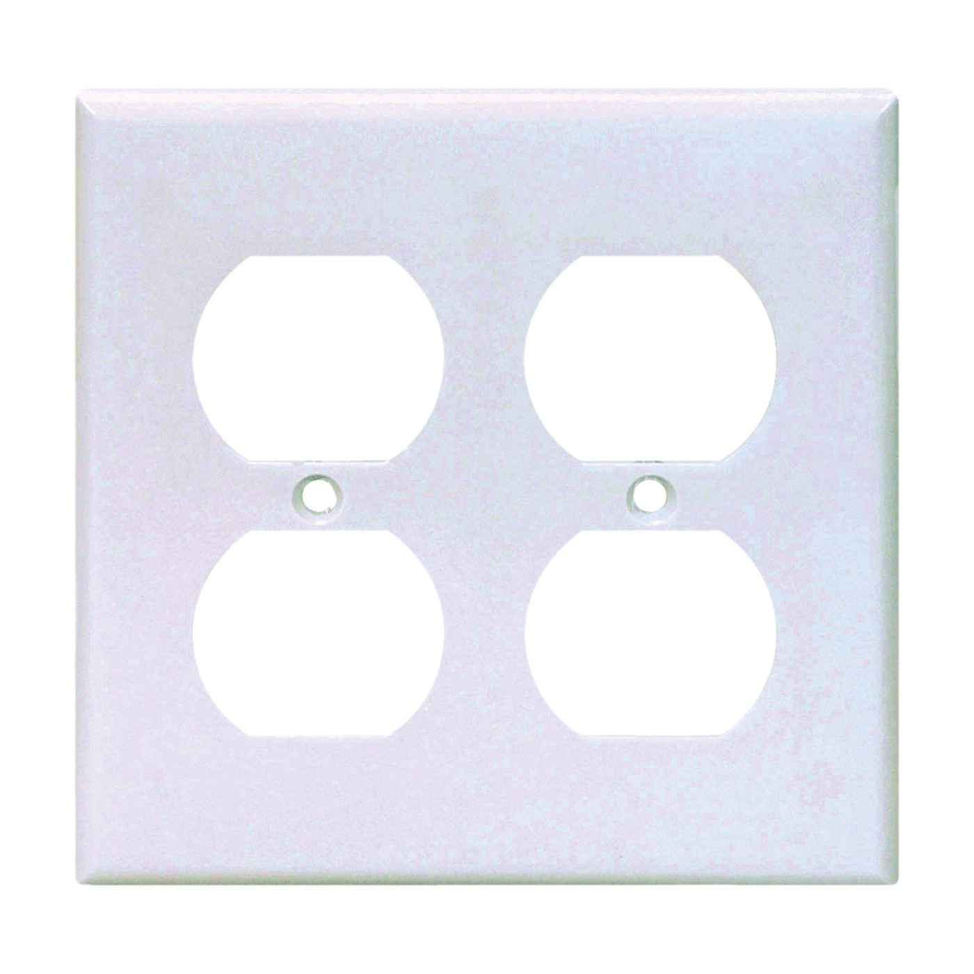 Picture of Eaton Wiring Devices 2150W-BOX Duplex Receptacle Wallplate, 4-1/2 in L, 4-9/16 in W, 2-Gang, Thermoset, White