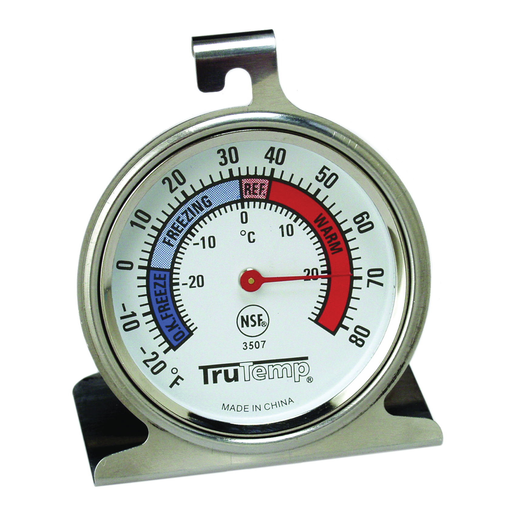 Picture of Taylor 3507 Refrigerator/Freezer Dial Thermometer, -20 to 80 deg F, Analog Display, Gray