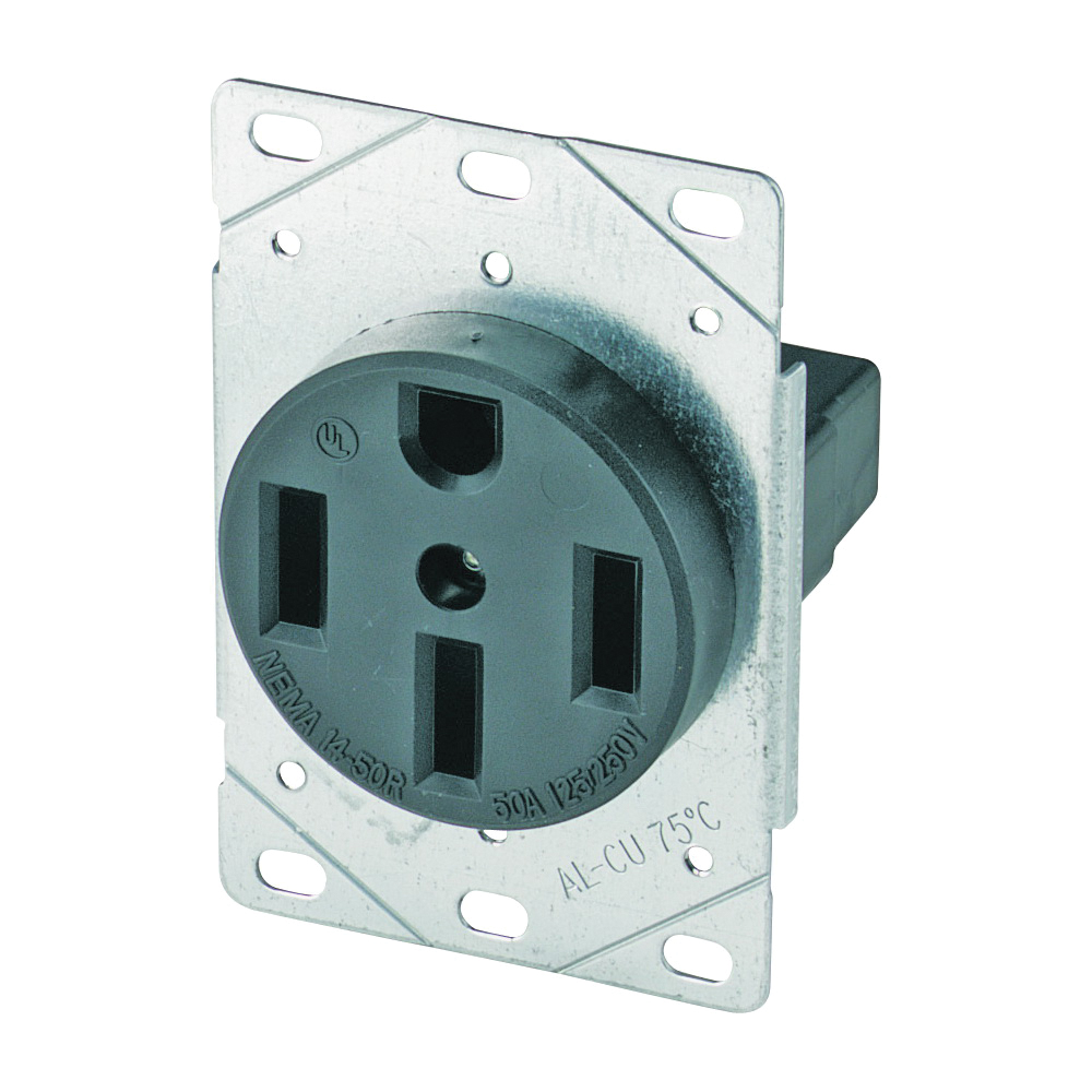 Picture of Eaton Cooper Wiring 1258-SP Power Receptacle, 3-Pole, 125/250 V, 50 A, NEMA 14-50R, Black