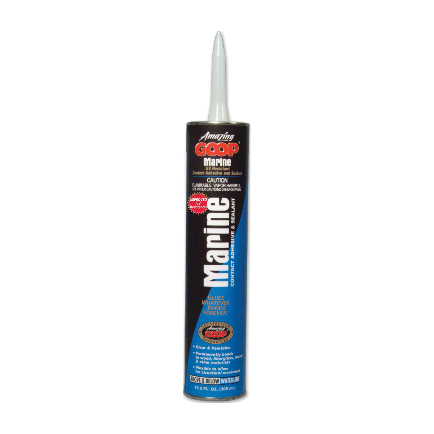Picture of ECLECTIC 172034 Marine Adhesive Caulk, Clear, 48 to 72 hr Curing, -40 to 150 deg F, 301.6 mL Package, Tube