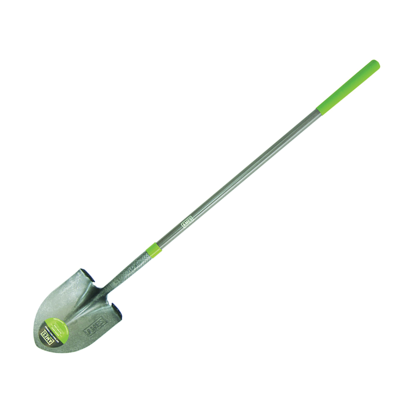 Picture of AMES 25332100 Shovel with Crimp Collar, 8-3/4 in W Blade, Steel Blade, Fiberglass Handle, Long Handle