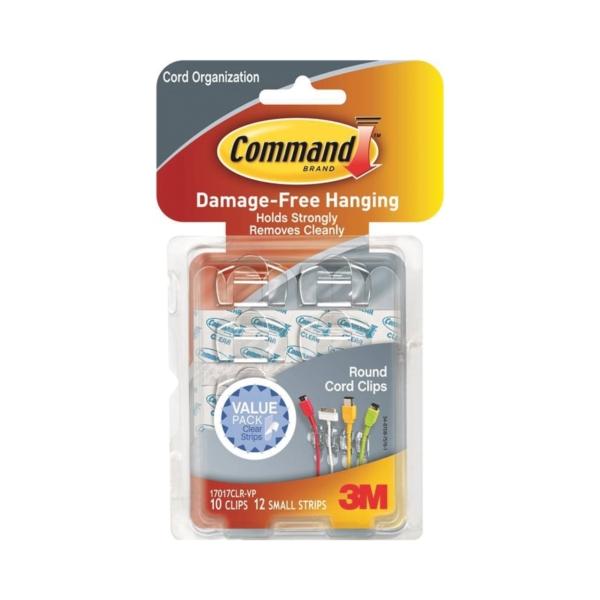 Picture of Command 17017CLR-VP Cord Clip, Plastic, Transparent