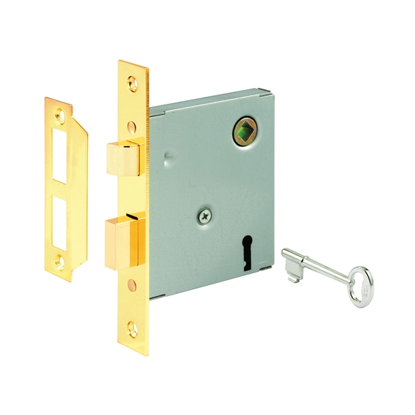 Picture of Defender Security E 2294 Mortise Lockset, Keyed, Skeleton Key, Steel, Polished Brass, 2-3/8 in Backset