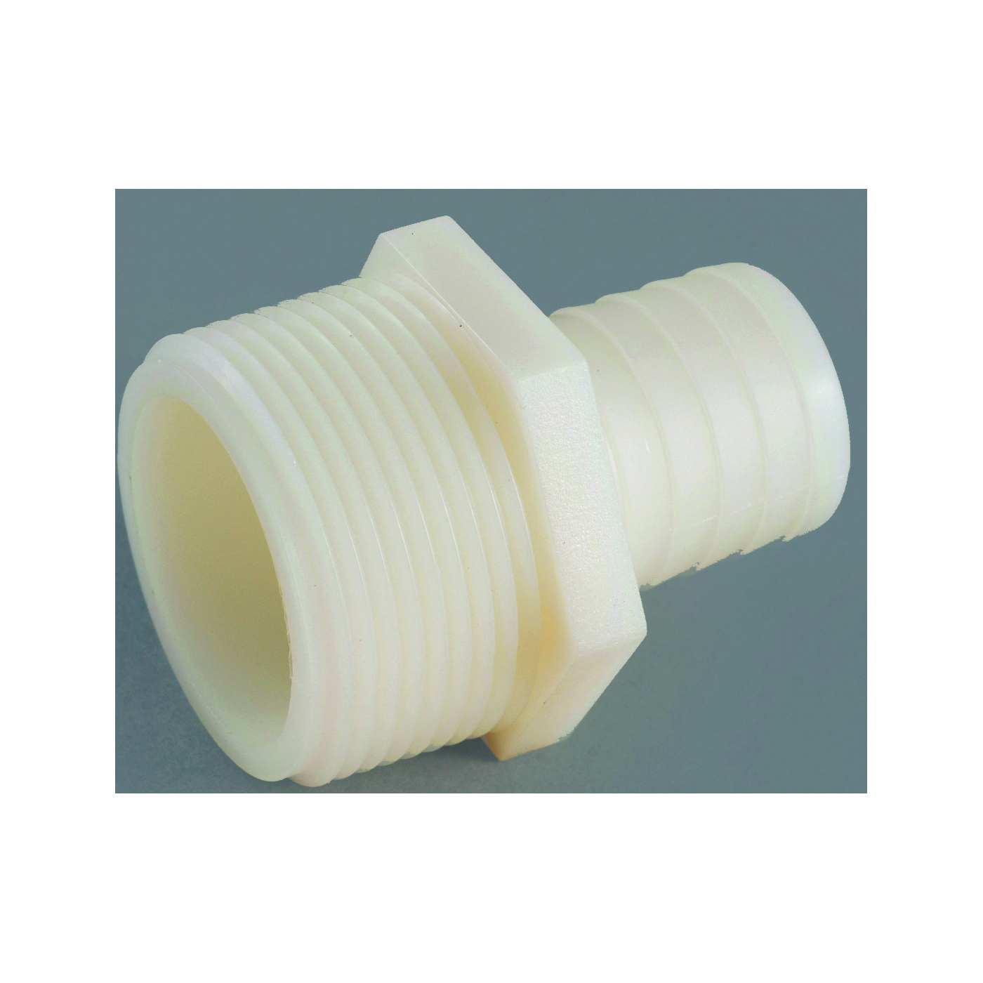 Picture of Anderson Metals 53701-0604 Hose Adapter, 1/4 in, Barb, 3/8 in, MIP, 150 psi Pressure, Nylon