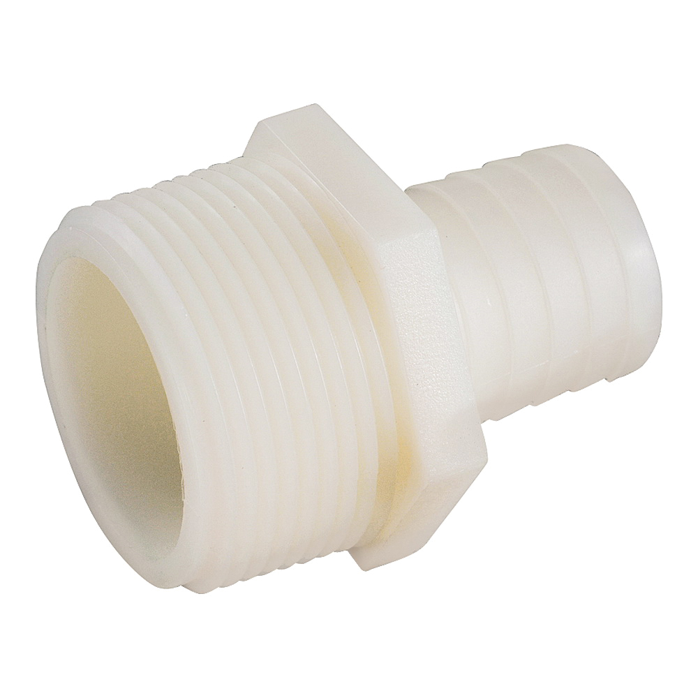 Picture of Anderson Metals 53701-1208 Hose Adapter, 1/2 in, Barb, 3/4 in, MIP, 150 psi Pressure, Nylon