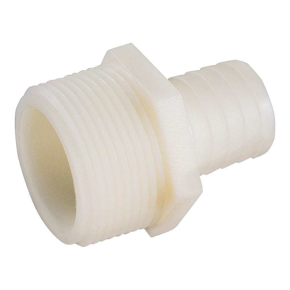 Picture of Anderson Metals 53701-1616 Hose Adapter, 1 in, Barb, 1 in, MIP, 150 psi Pressure, Nylon