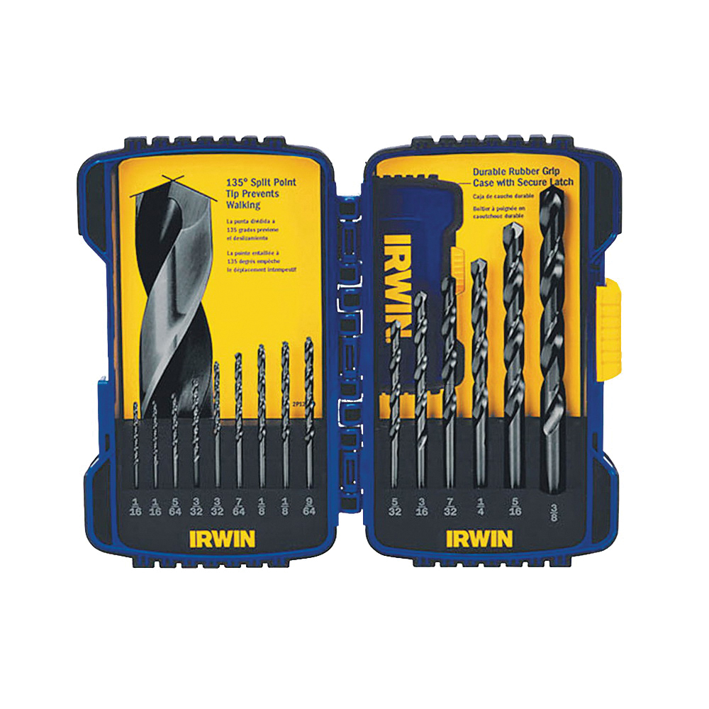 Picture of IRWIN 314015 Drill Bit Set, Jobber Length, 15 -Piece, Steel, Black Oxide