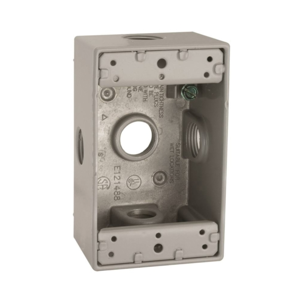 Picture of HUBBELL 5323-0 Box, 5-Outlet, 1-Gang, Aluminum, Gray, Powder-Coated