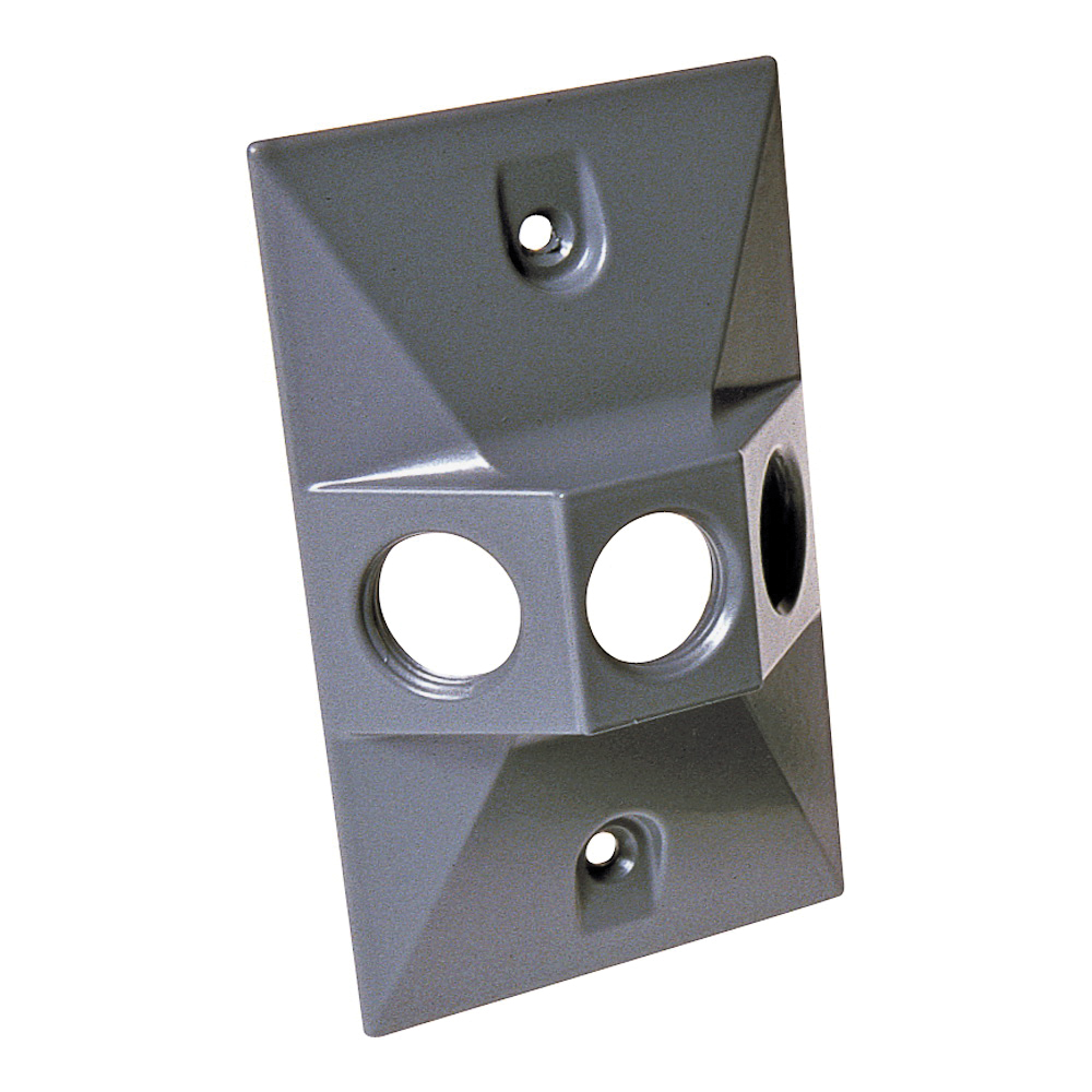 Picture of HUBBELL 5189-0 Cluster Cover, 4-19/32 in L, 2-27/32 in W, Rectangular, Zinc, Gray, Powder-Coated