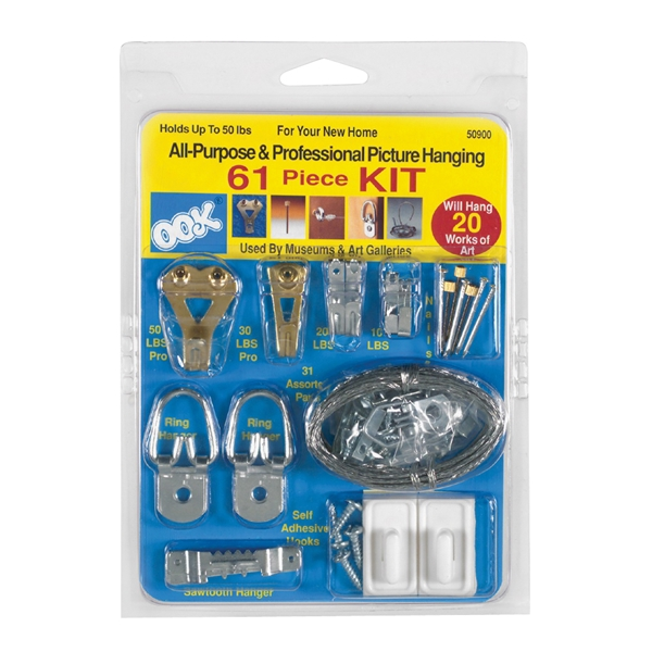 Picture of OOK 50900 Picture Hanging Kit, 10 to 30 lb, Steel, Zinc, 61, Pack