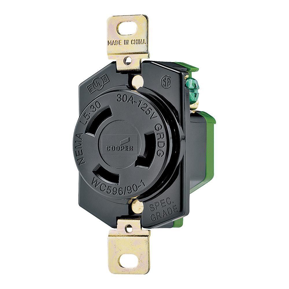 Picture of Eaton Wiring Devices L530R Single Receptacle, 2-Pole, 125 V, 30 A, Back, Side Wiring, NEMA L5-30, Black