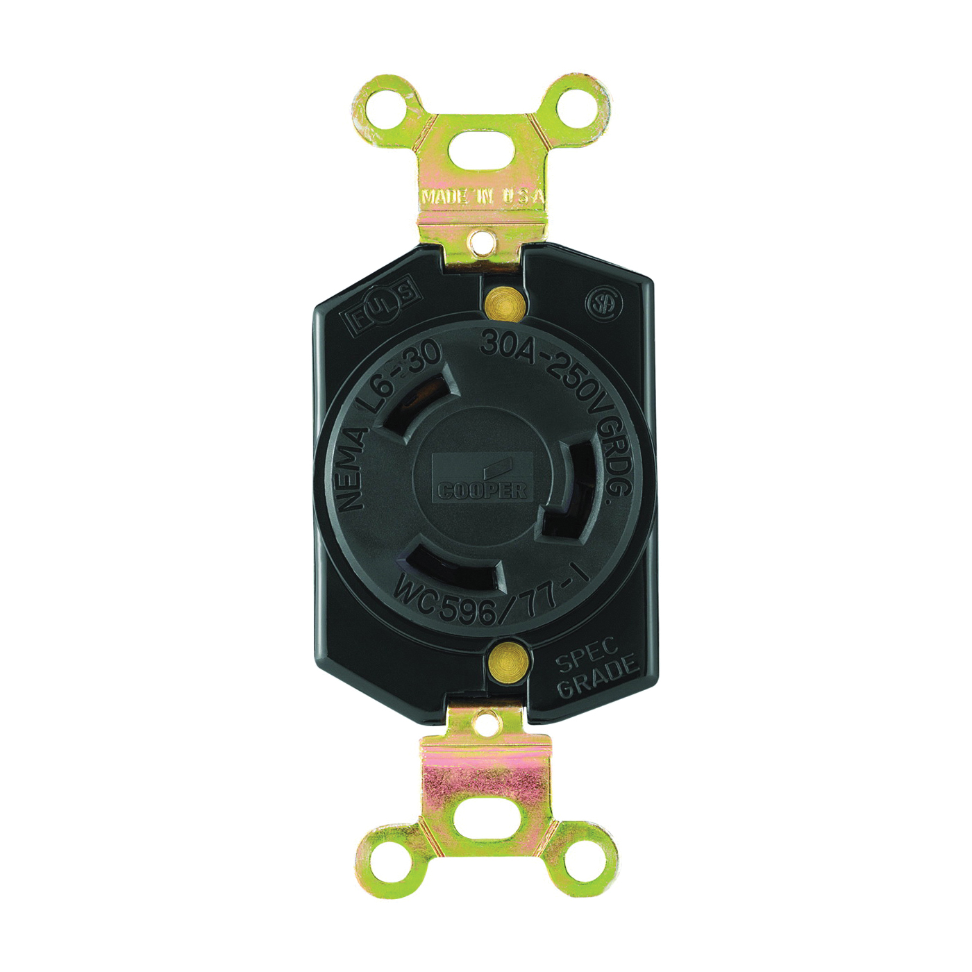 Picture of Eaton Wiring Devices L630R Single Receptacle, 2-Pole, 250 V, 30 A, Back, Side Wiring, NEMA L6-30, Black