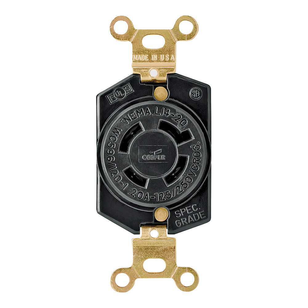 Picture of Eaton Wiring Devices L1420R Single Receptacle, 3-Pole, 125/250 V, 20 A, Back, Side Wiring, NEMA L14-20, Black
