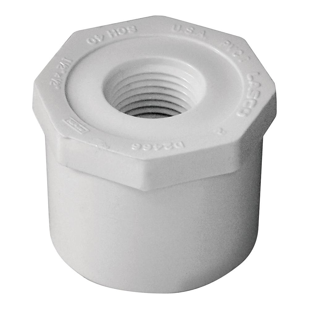 Picture of GENOVA 300 Series 34255 Pipe Reducing Bushing, 1-1/2 x 1/2 in, Spigot x FIP, White, SCH 40 Schedule
