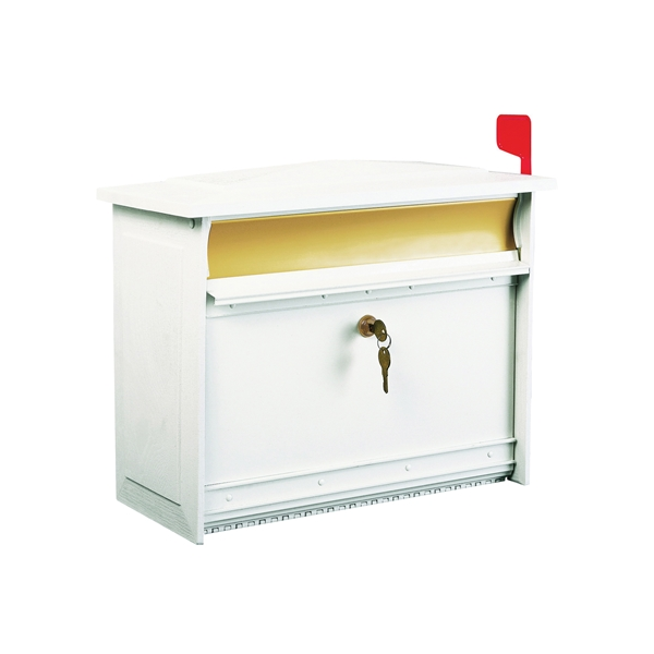 Picture of Gibraltar Mailboxes MSK000W Mailbox, Polymer, White, 15-1/4 in W, 7-13/16 in D, 12-1/2 in H