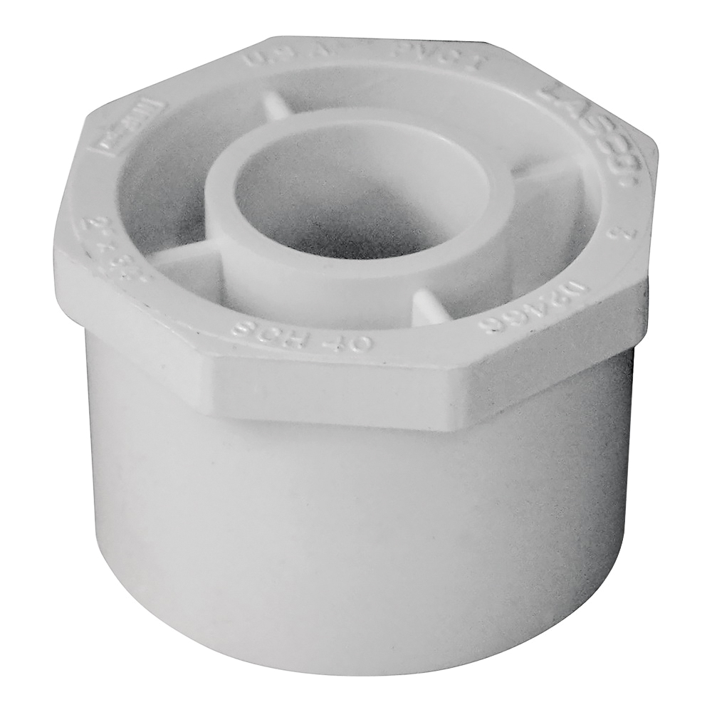 Picture of GENOVA 300 Series 30227 Pipe Reducing Bushing, 2 x 3/4 in, Spigot x Slip, White, SCH 40 Schedule