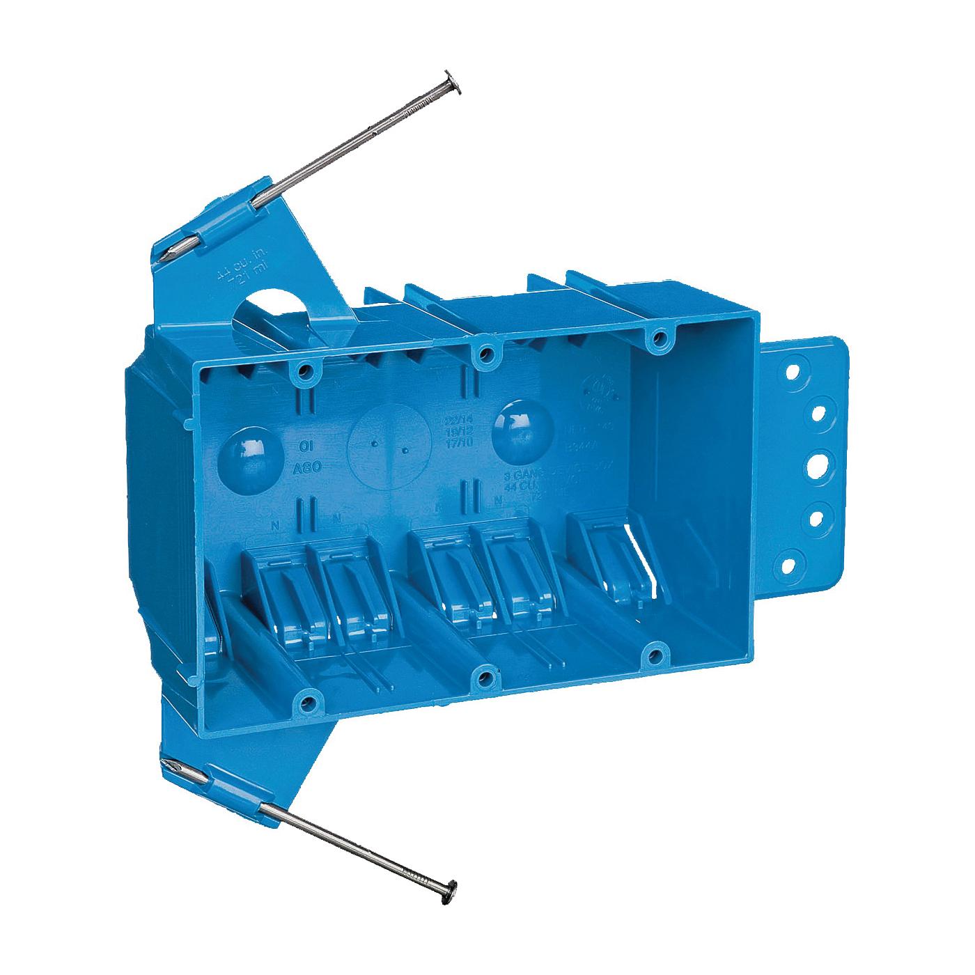 Picture of Carlon B344AB-UPC Outlet Box, 3-Gang, PVC, Blue, Captive Nail, Bracket Mounting