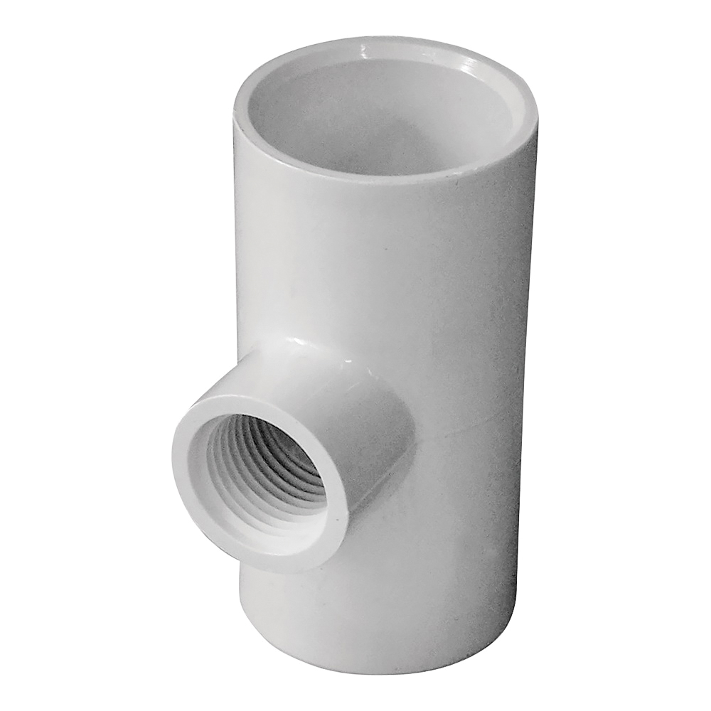Picture of GENOVA 300 Series 31485 Pipe Reducing Tee, 1 in Run, Slip Run Connection, 1/2 in Branch, White
