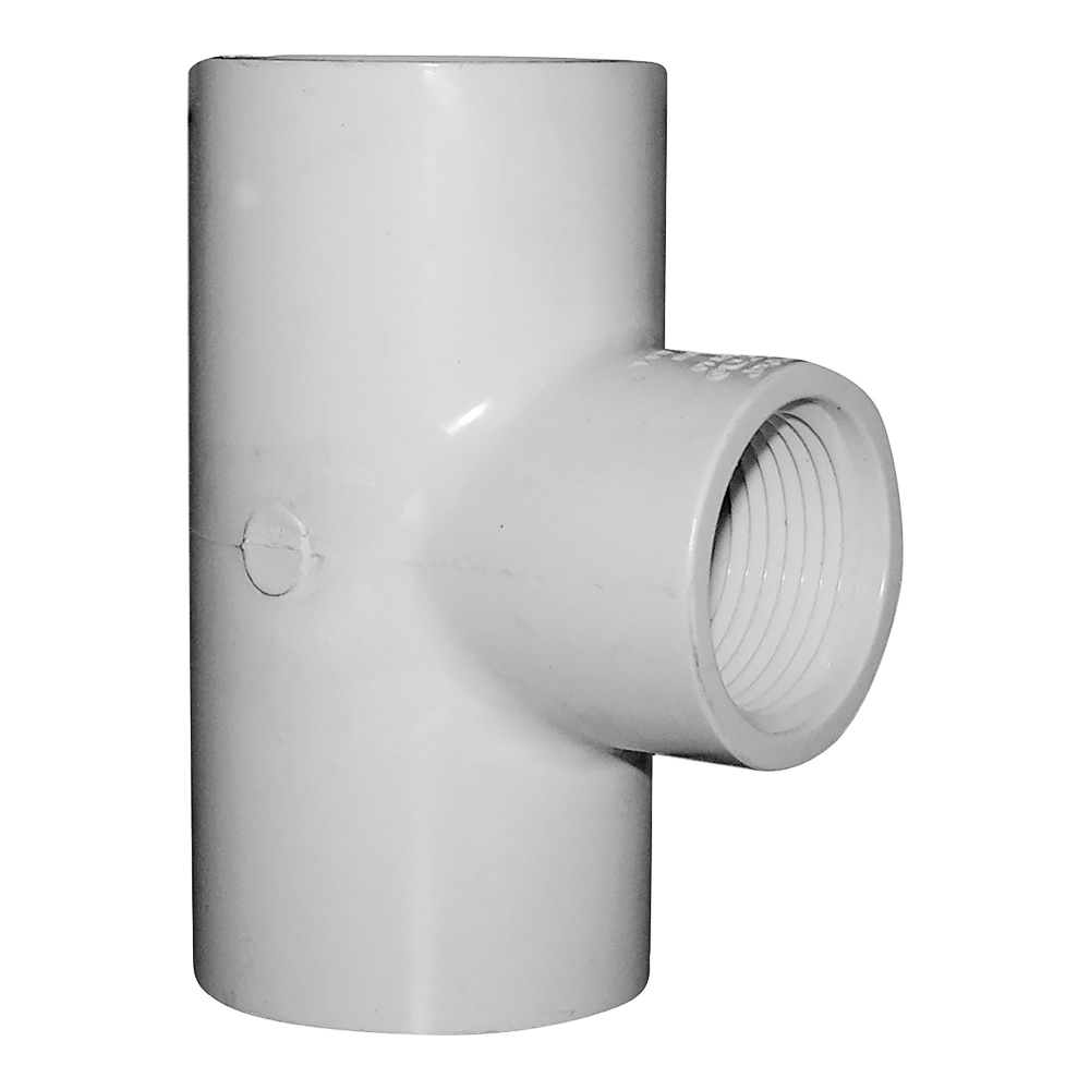 Picture of GENOVA 300 Series 31484 Pipe Reducing Tee, 1-1/4 in Run, Slip Run Connection, 1 in Branch, White