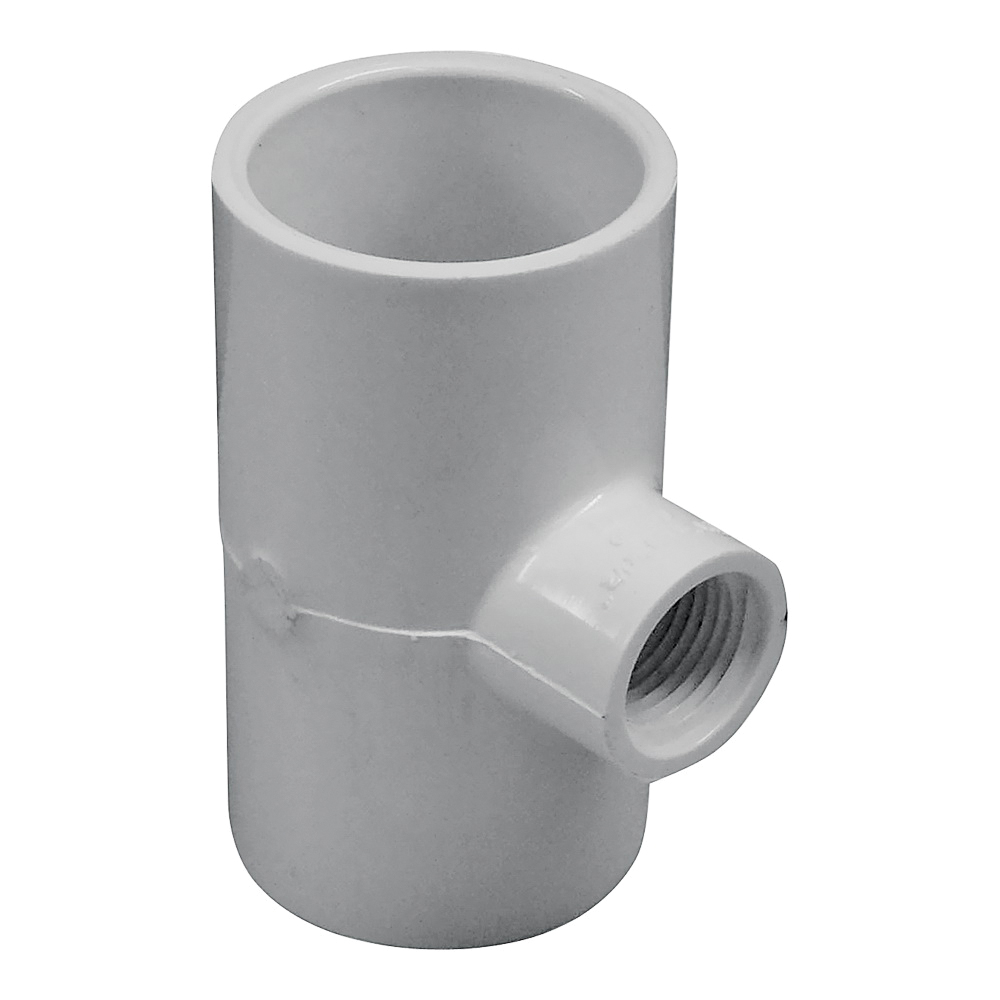 Picture of GENOVA 300 Series 31480 Pipe Reducing Tee, 1-1/4 in Run, Slip Run Connection, 1/2 in Branch, White