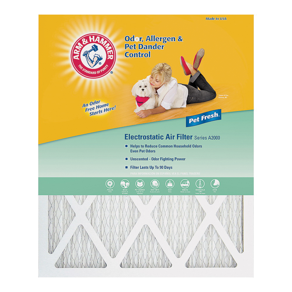 Picture of ARM & HAMMER AFAH1620 Air Filter, 20 in L, 16 in W, 8 MERV, Synthetic Filter Media, Cardboard Frame