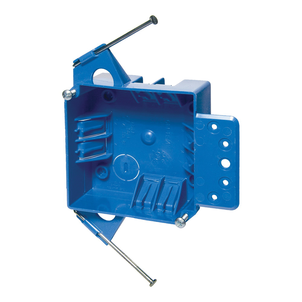 Picture of Carlon B418A-UPC Outlet Box, 2-Gang, Thermoplastic, Blue, Captive Nail, Bracket Mounting