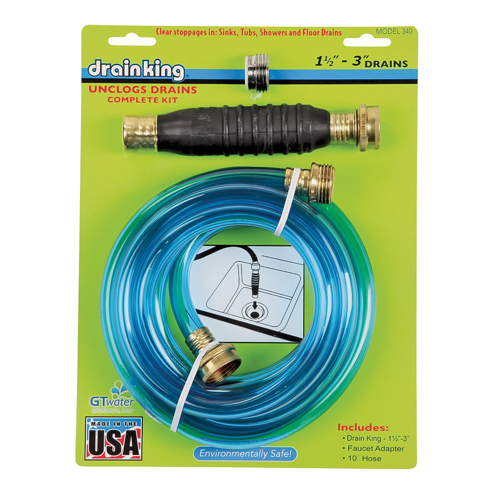 Picture of Drain King 340 Drain Opener/Cleaner, 50 to 80 psi Pressure, 1-1/2 to 3 in Drain