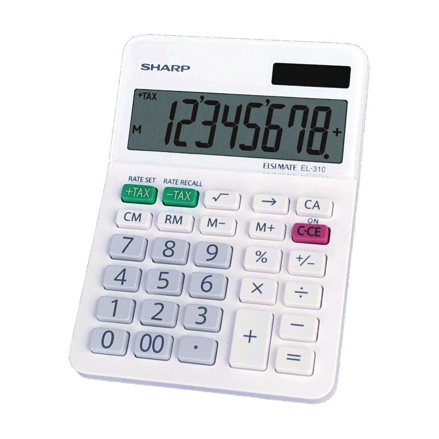 Picture of Sharp EL310WB Mini-Desktop Calculator, Battery, 8 Display, LCD Display, White