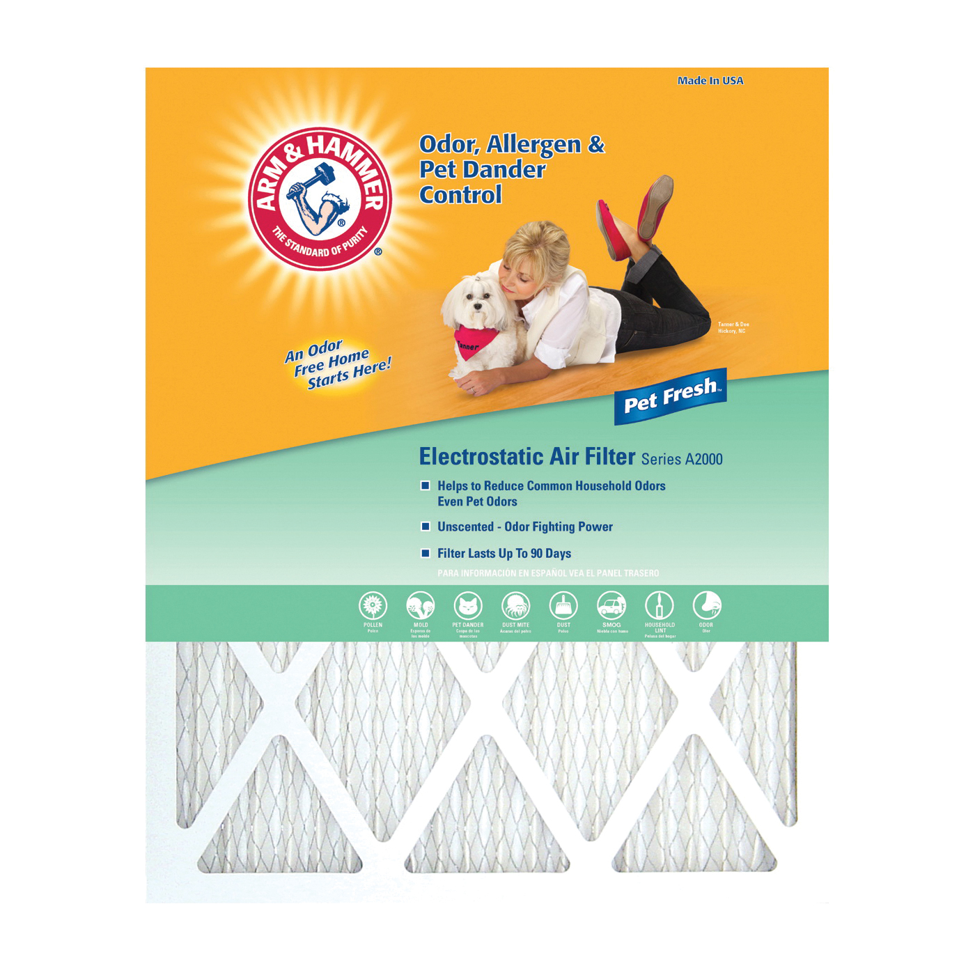 Picture of ARM & HAMMER AFAH2025 Air Filter, 25 in L, 20 in W, 8 MERV, Synthetic Filter Media, Cardboard Frame