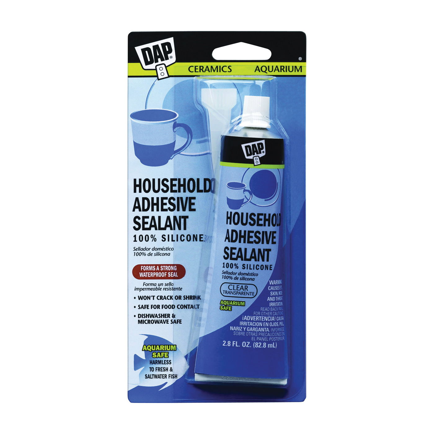 Picture of DAP 7079800755 Adhesive Sealant, Clear, 2.8 oz Package, Tube